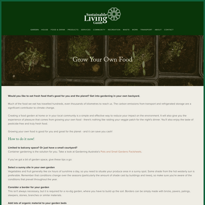 Grow Your Own Food — Sustainable living guide