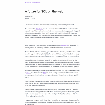 A future for SQL on the web