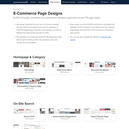 6,003 E-Commerce Design Examples Distributed Across 78 Page Types - Baymard Institute