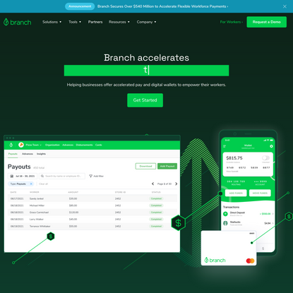 Branch: Delivering Instant Payments to Workers