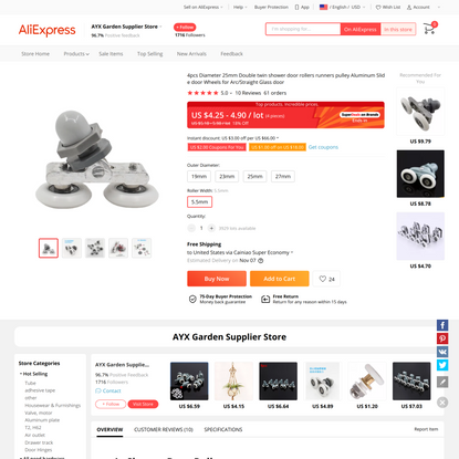 4.25US $ 18% OFF|4pcs Diameter 25mm Double twin shower door rollers runners pulley Aluminum Slide door Wheels for Arc/Straig...