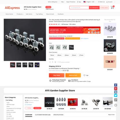 7.03US $ 10% OFF|Zinc alloy double shower door roller wheel runner/pulleys/rollers/wheels bearing diameter 19mm/20mm/23mm/25...