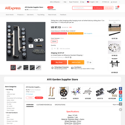7.13US $ 30% OFF Sliding door roller hanging pulley hanging mute rail wheel balcony sliding door 12 wheels bear 117 KGS,one ...
