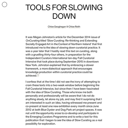 Tools for Slowing Down