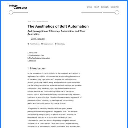 The Aesthetics of Soft Automation — Infinite Caesura