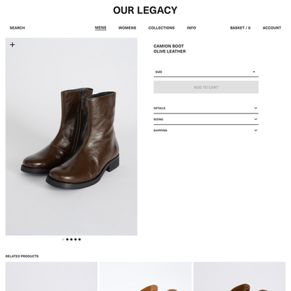 Camion Boot Olive Leather | Our Legacy