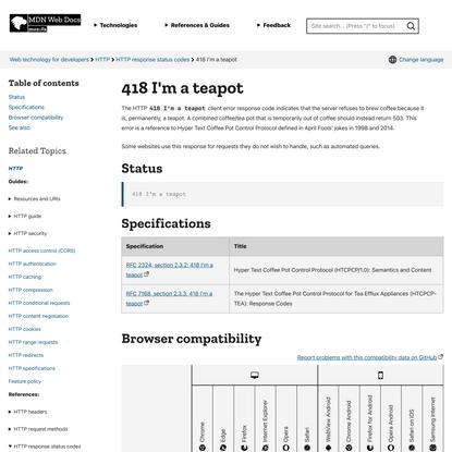 418 I'm a teapot - HTTP | MDN
