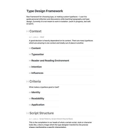 Type Design Framework