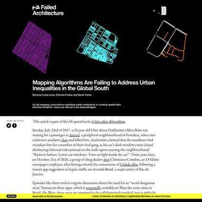 Mapping Algorithms Are Failing to Address Urban Inequalities in the Global South - Failed Architecture
