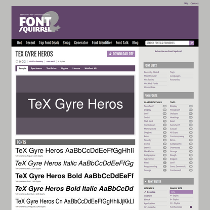 Font Squirrel | TeX Gyre Heros Font Free by GUST e-foundry