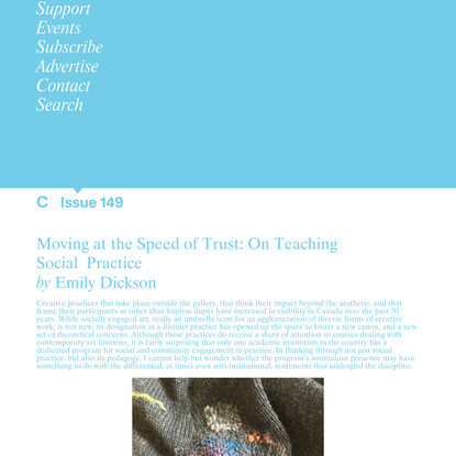 C Magazine / Moving at the Speed of Trust: On Teaching Social Practice