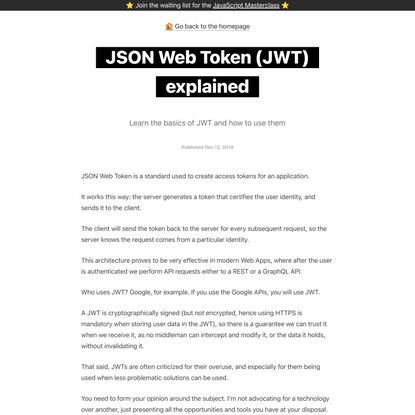 JSON Web Token (JWT) explained