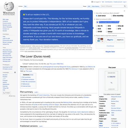 The Lover (Duras novel) - Wikipedia