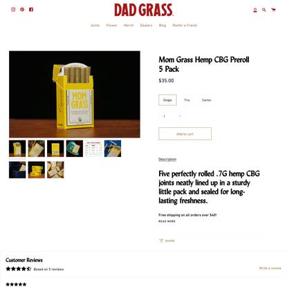 Mom Grass Hemp CBG Preroll 5 Pack