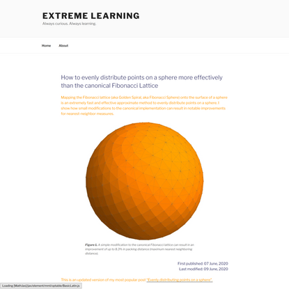 How to evenly distribute points on a sphere more effectively than the canonical Fibonacci Lattice   Extreme Learning