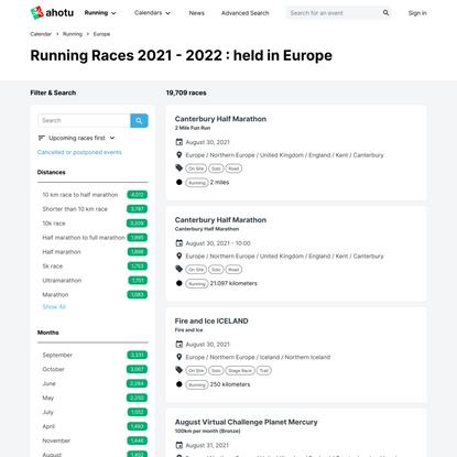 Running Races 2021 - 2022 : held in Europe