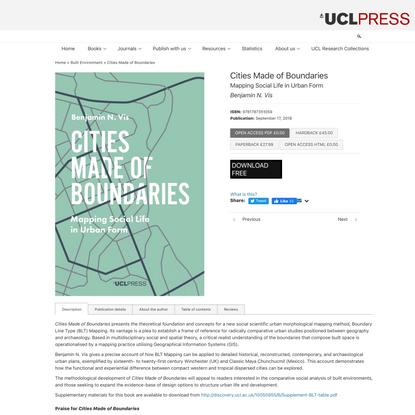 Cities Made of Boundaries - UCL Press