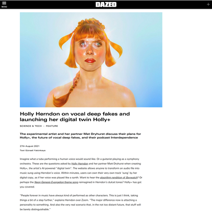 Holly Herndon on vocal deep fakes and launching her digital twin Holly+