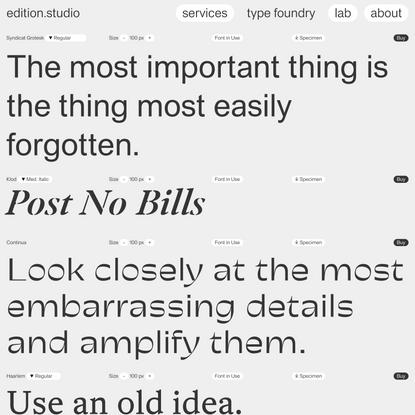 Type Foundry — edition.studio