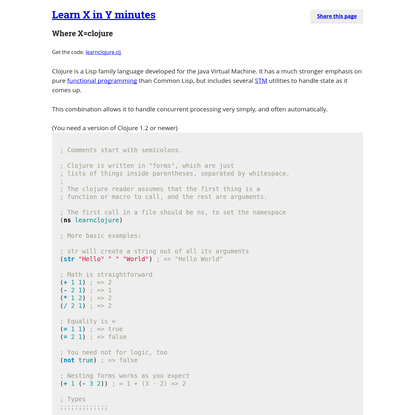 Learn clojure in Y Minutes