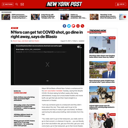 After 1st COVID shot, NYers can dine in right away, de Blasio says