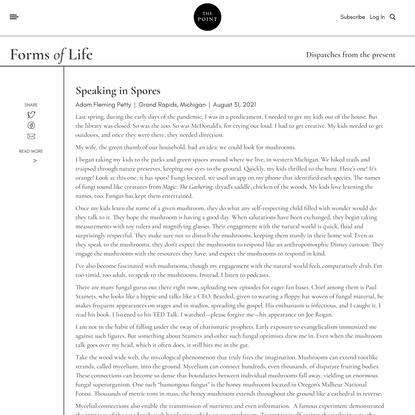 Speaking in Spores | The Point Magazine