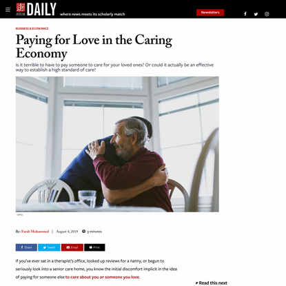 Paying for Love in the Caring Economy | JSTOR Daily