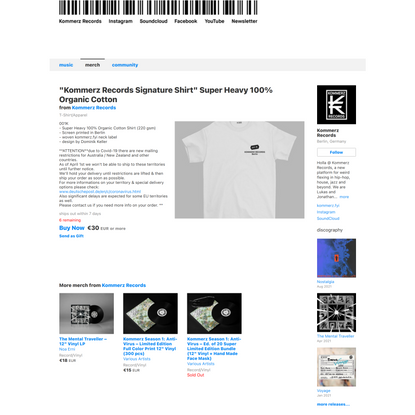 """""""Kommerz Records Signature Shirt"""" Super Heavy 100% Organic Cotton from Kommerz Records"""