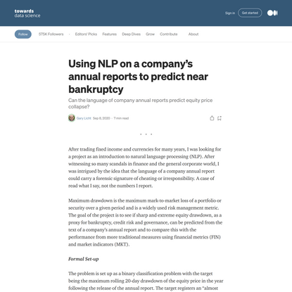 Using NLP on a company's annual reports to predict near bankruptcy