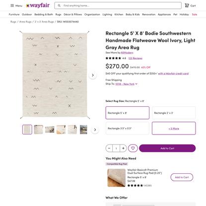 Rectangle 5′ X 8′ Bodie Southwestern Handmade Flatweave Wool Ivory, Light Gray Area Rug