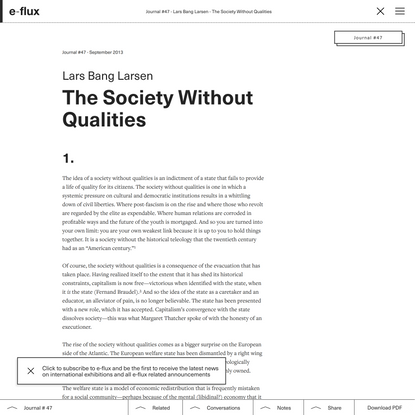 The Society Without Qualities