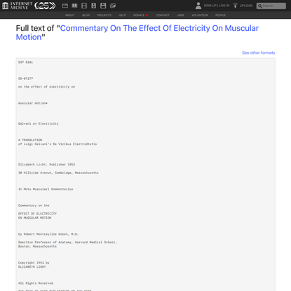 """Full text of """"Commentary On The Effect Of Electricity On Muscular Motion"""""""