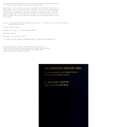 The Harveian Oration, 1904, by Richard Caton—a Project Gutenberg eBook