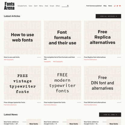 FontsArena — Free fonts, free alternatives, done-for-you-research articles. Ads-free open startup.