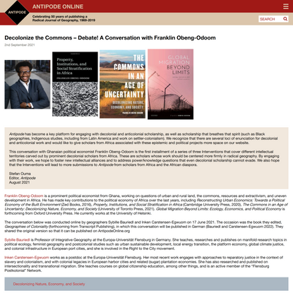 Decolonize the Commons – Debate! A Conversation with Franklin Obeng-Odoom - Antipode Online