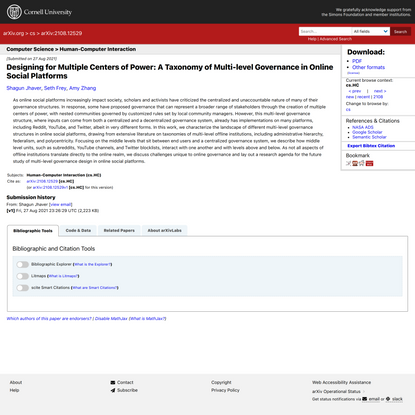 Designing for Multiple Centers of Power: A Taxonomy of Multi-level Governance in Online Social Platforms