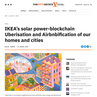 IKEA's solar power-blockchain Uberisation and Airbnbification of our homes and cities
