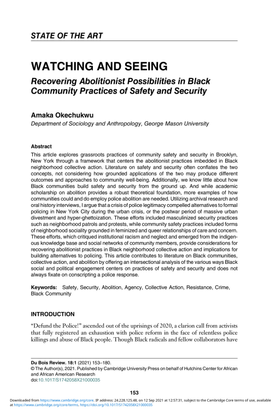 Recovering Abolitionist Possibilities in Black Community Practices of Safety and Security