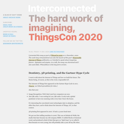 The hard work of imagining, ThingsCon 2020