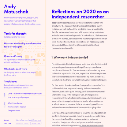 Reflections on 2020 as an independent researcher