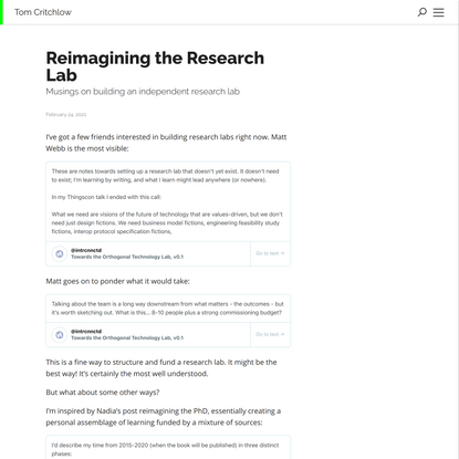 Reimagining the Research Lab