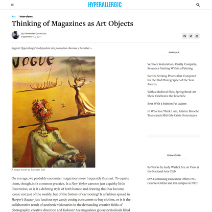 Thinking of Magazines as Art Objects