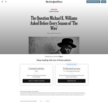 Opinion | David Simon: The Selfless Art of Michael K. Williams - The New York Times