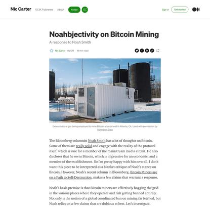 Noahbjectivity on Bitcoin Mining