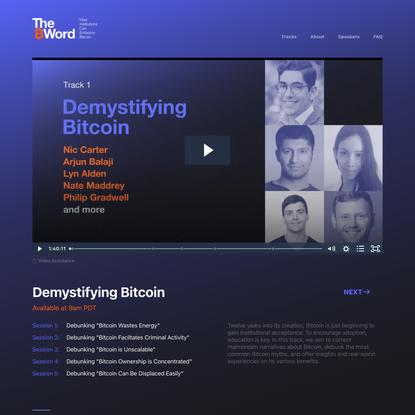 Track 1 Demystifying Bitcoin