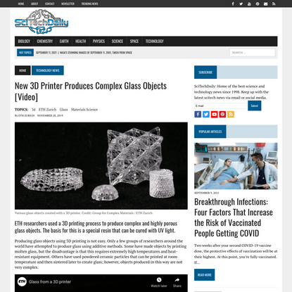 New 3D Printer Produces Complex Glass Objects [Video]
