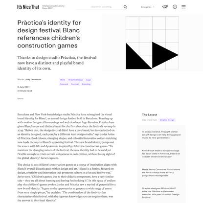 Pràctica's identity for design festival Blanc references children's construction games