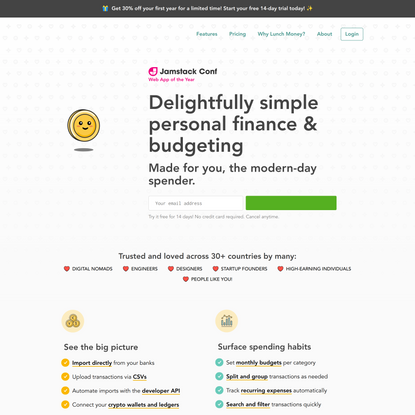 Lunch Money   Delightfully simple personal finance & budgeting