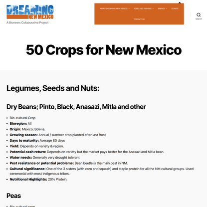 50 Crops for New Mexico - Dreaming New Mexico