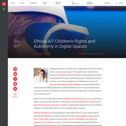 Ethical AI? Children's Rights and Autonomy in Digital Spaces